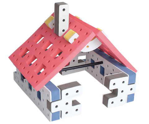 skum legetøj byggekloser byggesæt lille hus