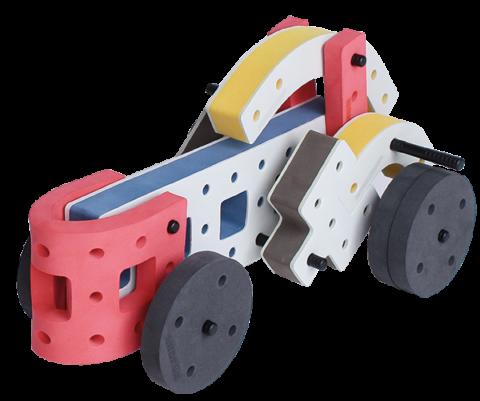 produkt billede af skum legetøj byggekloser byggesæt racerbil